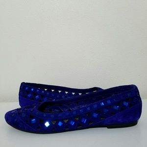 Gianni Bini Blue Suede Slip On Flats Sz 6.5 M